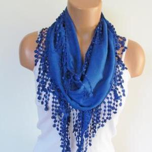 Navy Blue Pashmina Scarf With Fring..