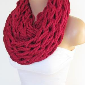 Infinity Red Scarf,Neckwarmer,Knitt..