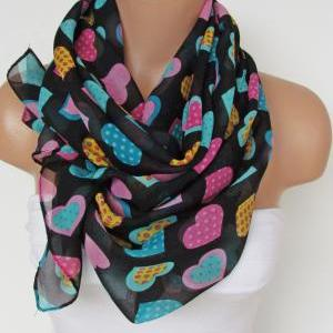 Oversize Heart Pattern Black and Mu..