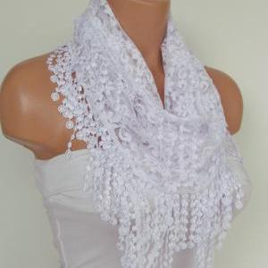 White Lace Scarf With Fringe New Se..