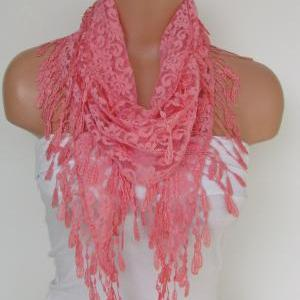 Salmon Lace Scarf With Fringe-Fall ..