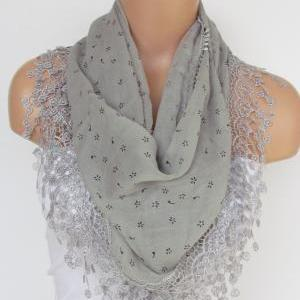 Gray Scarf with fringe -Triangle Sh..