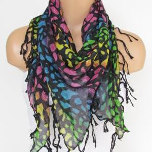 Black Colorful Scarf with fringe -T..