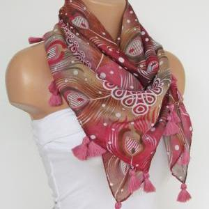 Pink Floral Scarf with fringe -Tria..