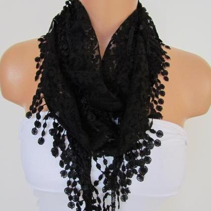 Black Long Scarf With Fringe-Winter..