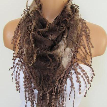 Brown Scarf with fringe -Triangle S..