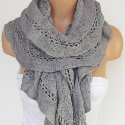 Gray Knitted Fabric Scarf - Shawl S..