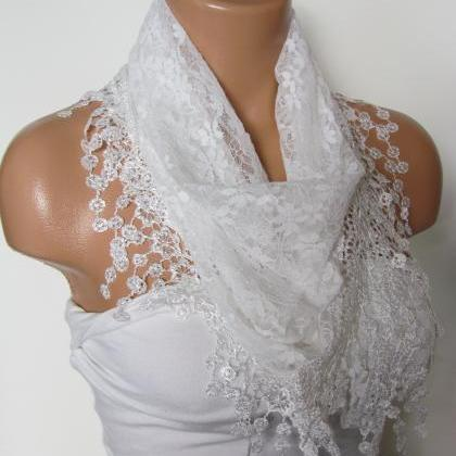 White Long Scarf With Fringe-Winter..