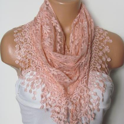 Salmon Long Scarf With Fringe-Winte..