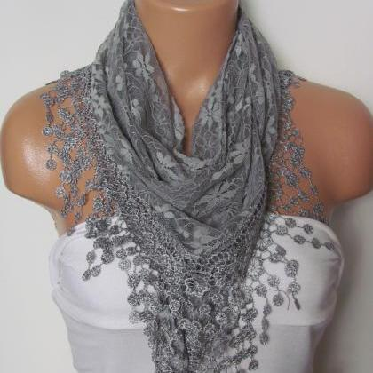 Grey Long Scarf With Fringe-Winter ..