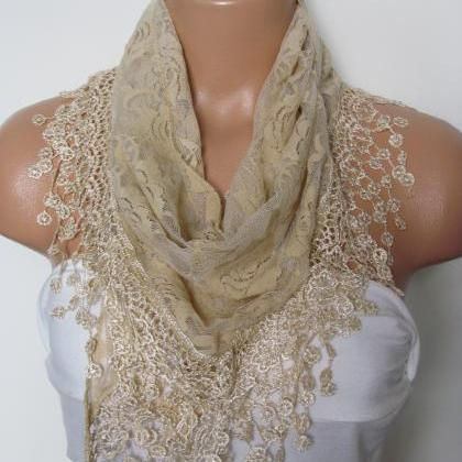 Cream Long Scarf With Fringe-Winter..