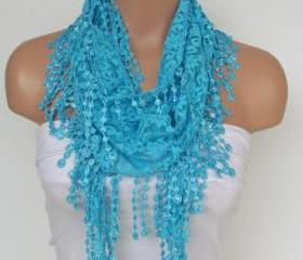 Turquoise Lace Scarf..