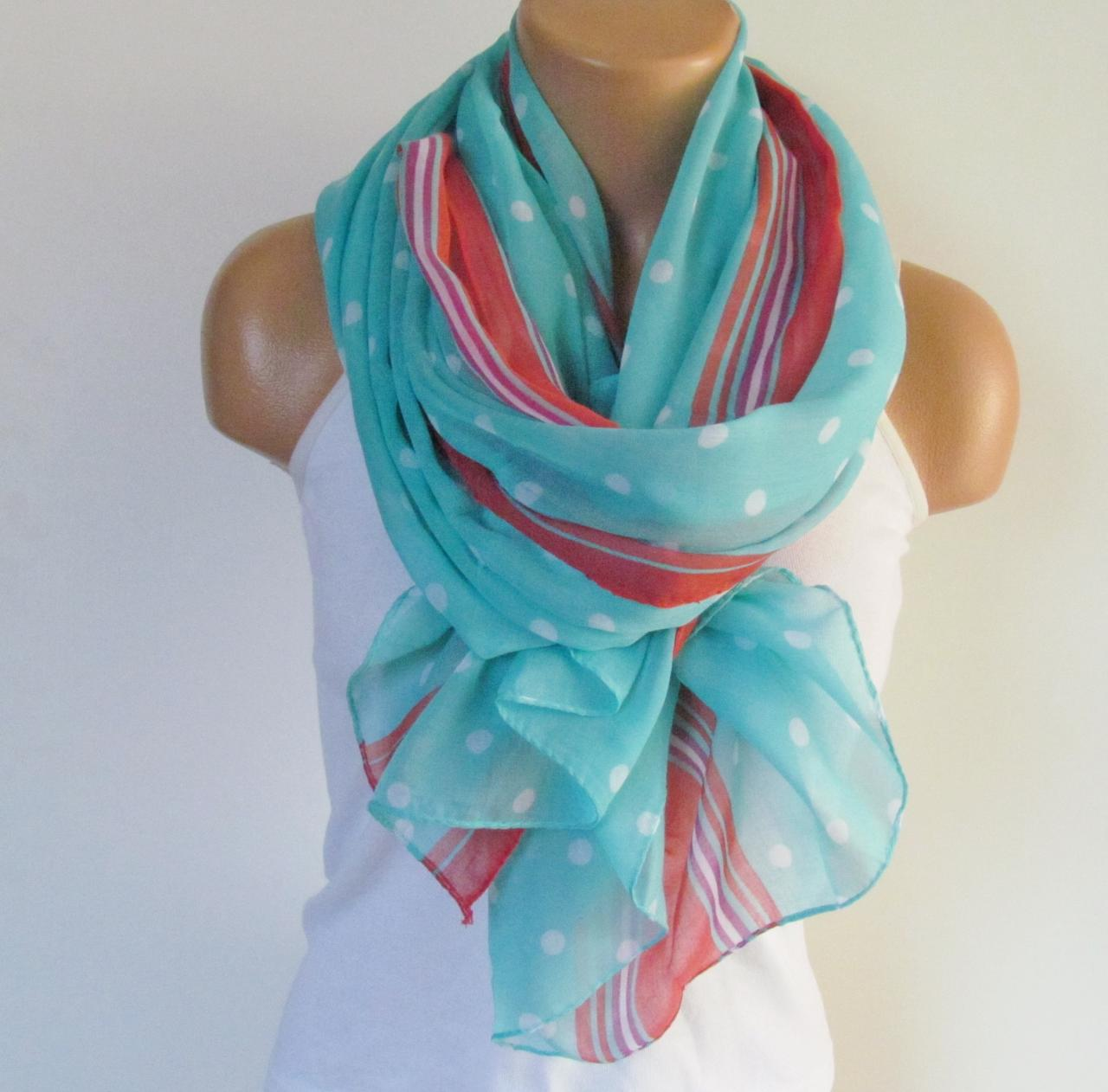 Polka Dot Scarf-Beach Pareo-Infinity Scarf- Beach Sarong-Long Scarf-New Season-Oversize Mint Red White Scarf