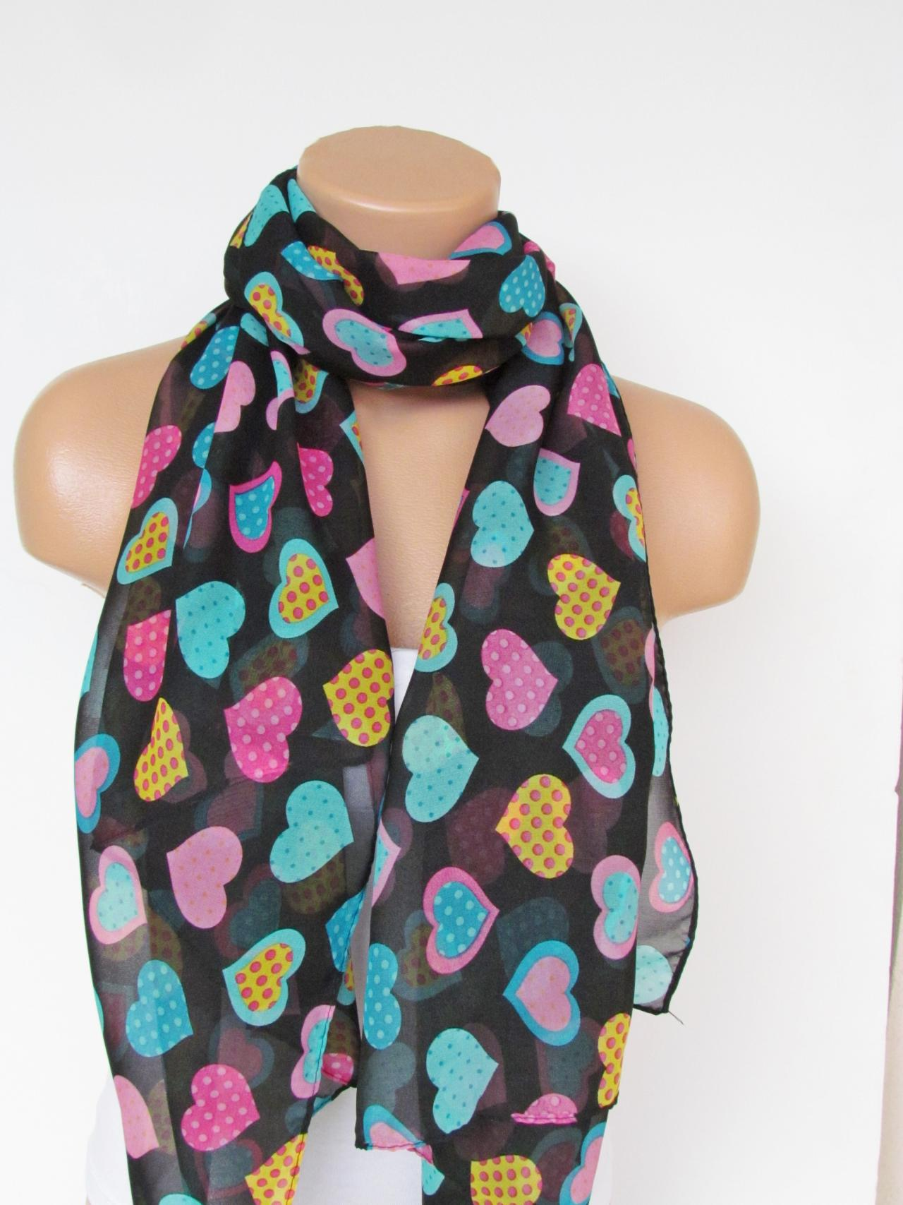 Oversize Heart Pattern Black and Multicolor Scarf -Fall Fashion Scarf-Headband-Beach Pareo- Infinity Scarf- Long Scarf-New Season