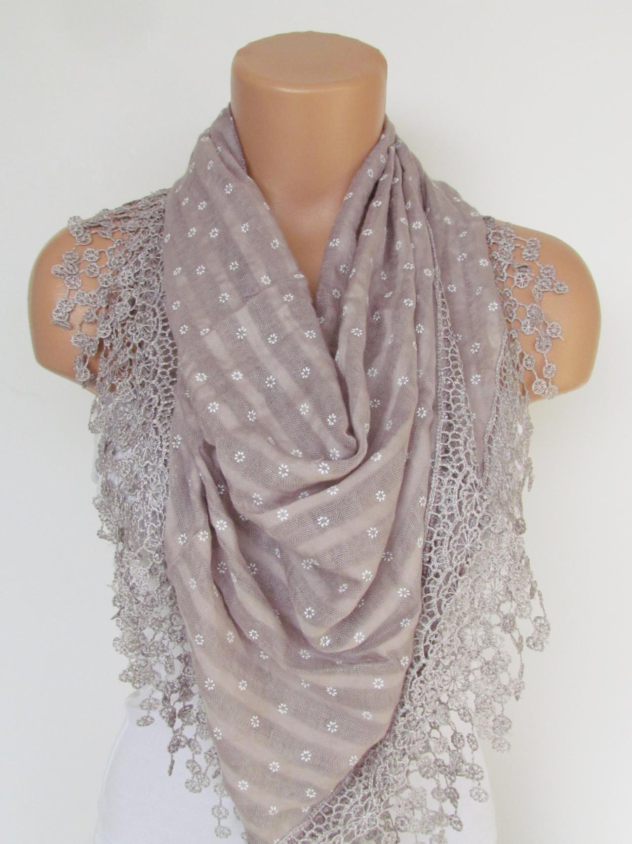 Powder Scarf with fringe -Triangle Shawl Scarf-New Season-Necklace-Lariat- Neckwarmer- Infinity Scarf--Gift For Her