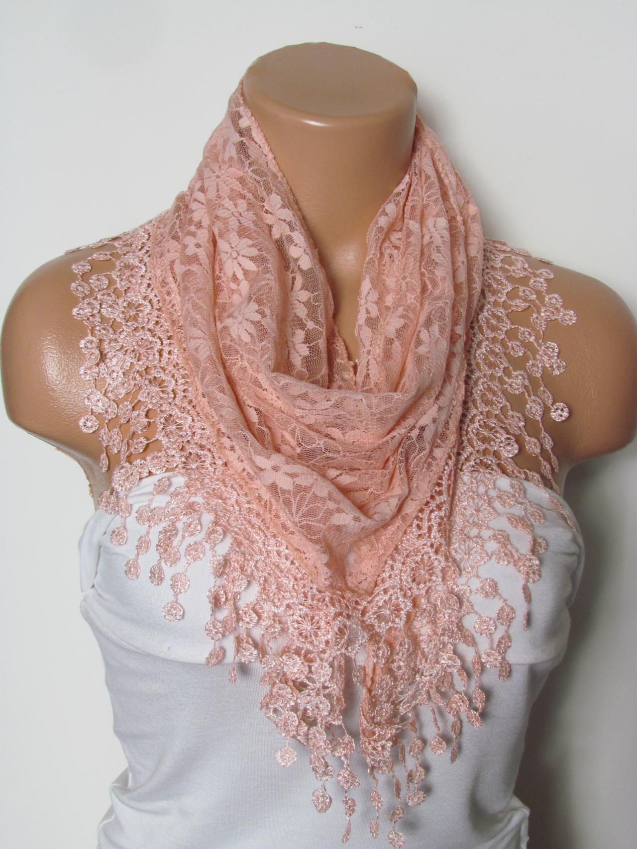 Salmon Long Scarf With Fringe-Winter Fashion Scarf-Headband-Necklace- Infinity Scarf- Winter Accessory-Long Scarf