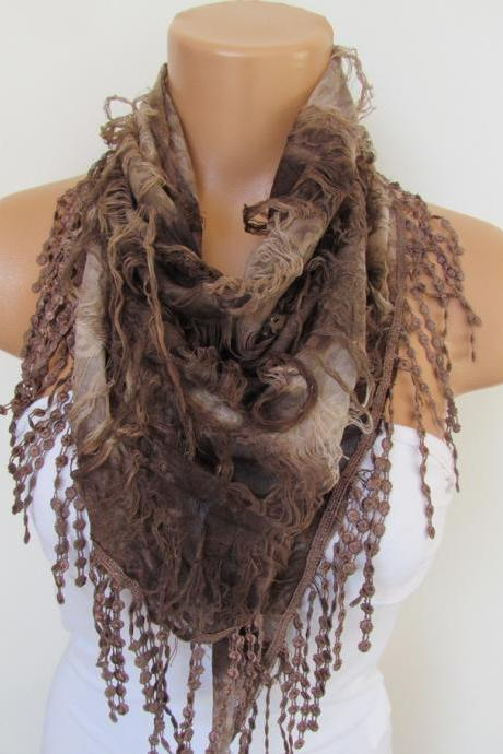 Brown Scarf with fringe -Triangle Shawl Scarf-Spring Fashion-Lace Scarf- Neckwarmer- Infinity Scarf-Mother's Day Gift