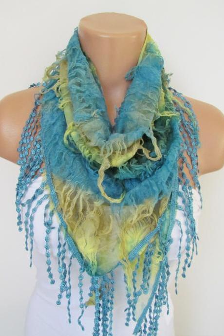 Blue and Yellow Scarf with fringe -Triangle Shawl Scarf-Spring Fashion-Lace Scarf- Neckwarmer- Infinity Scarf-Mother's Day Gift