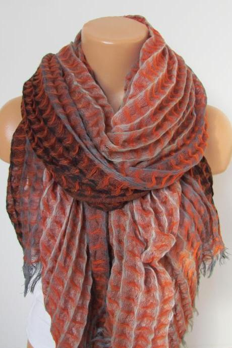 Orange Brown and Beige Long Scarf -Shawl Scarf-New Season-Necklace-Cowl- Neckwarmer- Infinity Scarf-Mother's Day Gift