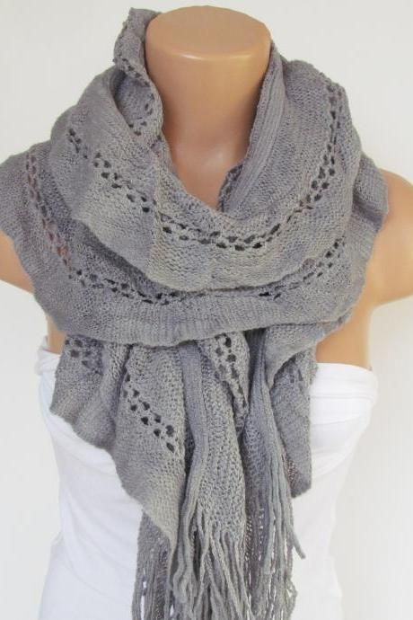 Gray Knitted Fabric Scarf - Shawl Scarf - Neck Warmer, Winter Accessories, Fall Fashion, Holiday Accossories,Gift For Valentines