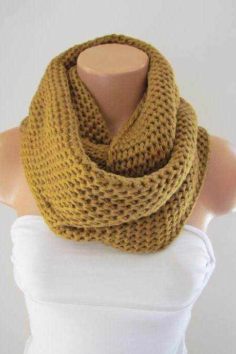 Mustard Yellow Infinity Loop Scarf,Neck Warmer,Handmade Circle Scarf,Cowl Scarf, Winter Accessories, Fall Fashion,Chunky Scarf.