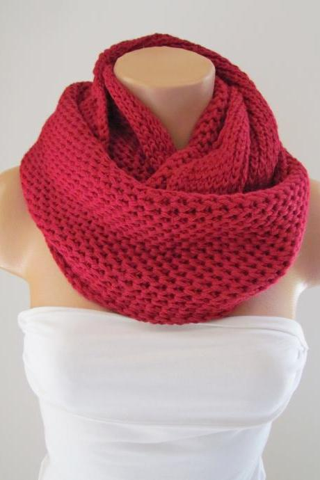 Red Infinity Loop Scarf,Neck Warmer,Handmade Circle Scarf,Cowl Scarf, Winter Accessories, Fall Fashion,Chunky Scarf.