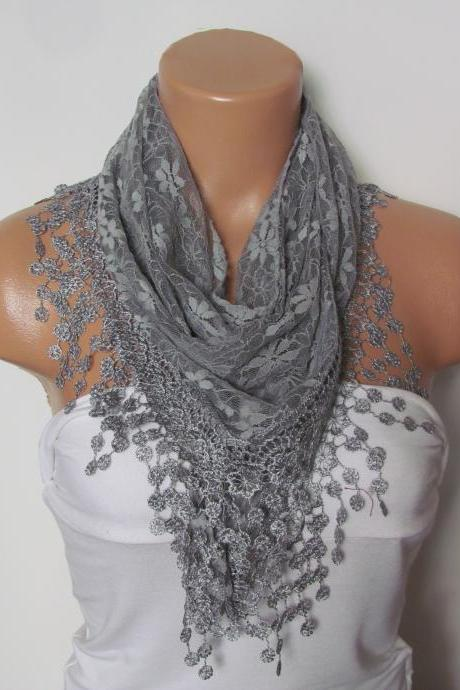 Grey Long Scarf With Fringe-Winter Fashion Scarf-Headband-Necklace- Infinity Scarf- Winter Accessory-Long Scarf