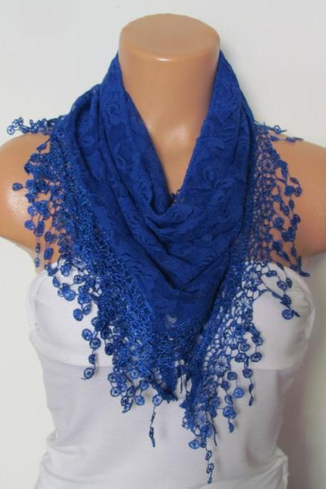 Royal Blue Long Scarf With Fringe-Winter Fashion Scarf-Headband-Necklace- Infinity Scarf- Winter Accessory-Long Scarf