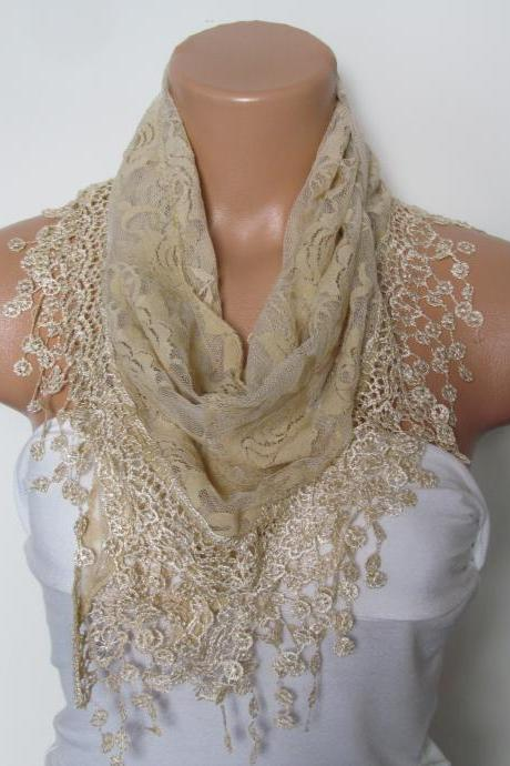 Cream Long Scarf With Fringe-Winter Fashion Scarf-Headband-Necklace- Infinity Scarf- Winter Accessory-Long Scarf