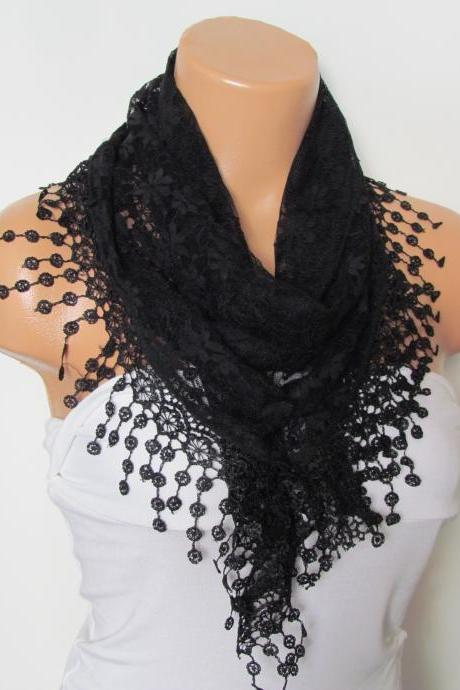 Black Long Scarf With Fringe-Winter Fashion Scarf-Headband-Necklace- Infinity Scarf- Winter Accessory-Long Scarf