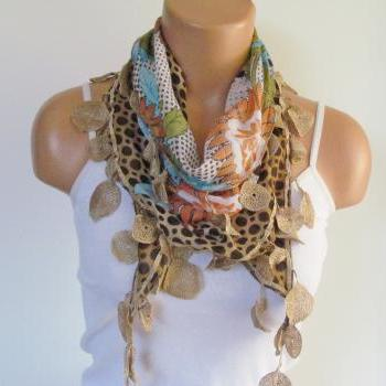 Multicolor Long Scarf With Fringe-New Season Scarf-Headband-Necklace- Infinity Scarf- Spring Accessory-New Season-Gift-