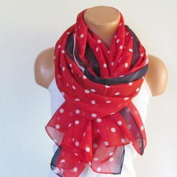 Polka Dot Scarf-Beach Pareo-Infinity Scarf- Beach Sarong-Long Scarf-New Season-Oversize Red White Navy Blue Scarf