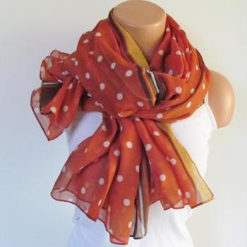 Polka Dot Scarf-Beach Pareo-Infinity Scarf- Beach Sarong-Long Scarf-New Season-Oversize Orange Yellow Brown Scarf