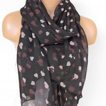 Oversize Heart Pattern Black Scarf -Fall Fashion Scarf-Headband-Beach Pareo- Infinity Scarf- Long Scarf-New Season
