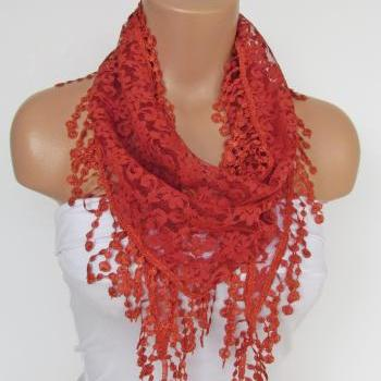 Terra-Cotta Long Scarf With Fringe-Winter Fashion Scarf-Headband-Necklace- Infinity Scarf- Winter Accessory-Long Scarf