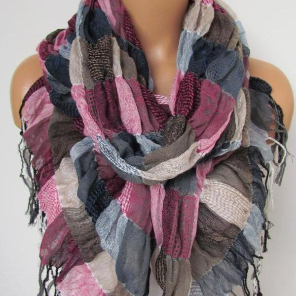 New Season Plaid Pattern Long Scarf With Fringe- Shawl Scarf-Winter Fashion - Pashmina Scarf- Beige Pink Blue Infinity Scarf