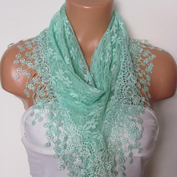 Green Long Scarf With Fringe-Winter Fashion Scarf-Headband-Necklace- Infinity Scarf- Winter Accessory-Long Scarf