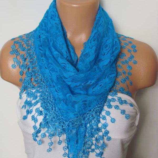 Blue Long Scarf With Fringe-Winter Fashion Scarf-Headband-Necklace- Infinity Scarf- Winter Accessory-Long Scarf