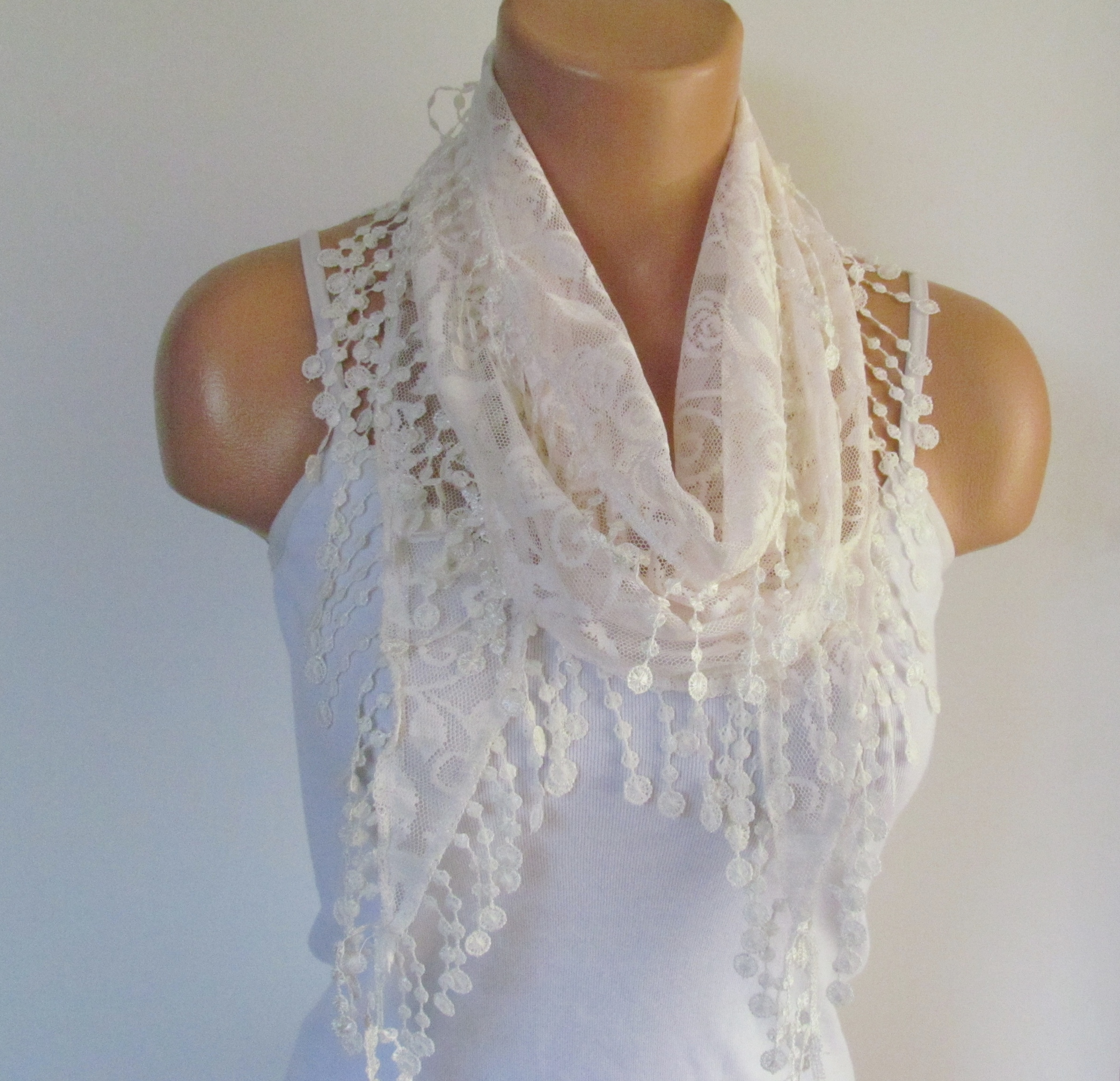 d7a9fe25286ac Cream Lace Scarf With Fringe New Season Scarf-Headband-Necklace- Infinity  Scarf- Accessory-Long Scar on Luulla