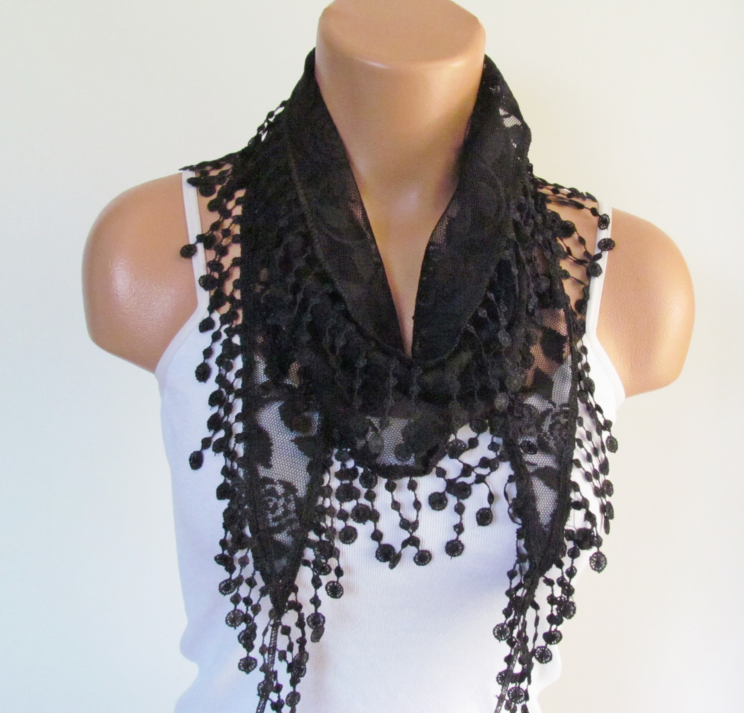 245e3c95a1f0e Black Lace Scarf With Fringe New Season Scarf-Headband-Necklace- Infinity  Scarf- Accessory-Long Scar on Luulla
