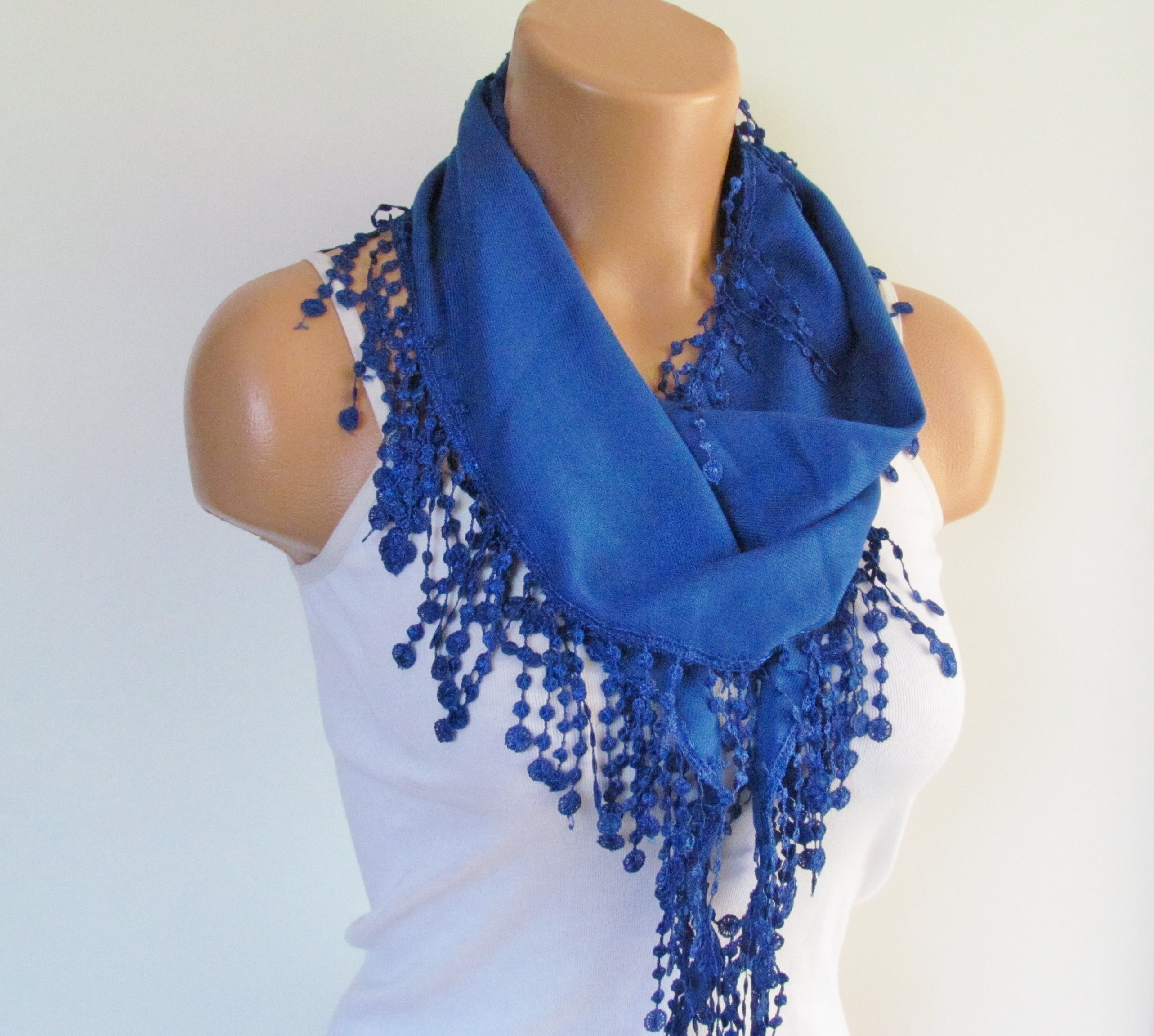 f7713f047e410 Navy Blue Pashmina Scarf With Fringe-Long Scarf-Fall Fashion Scarf-Headband- Necklace- Infinity Scarf on Luulla