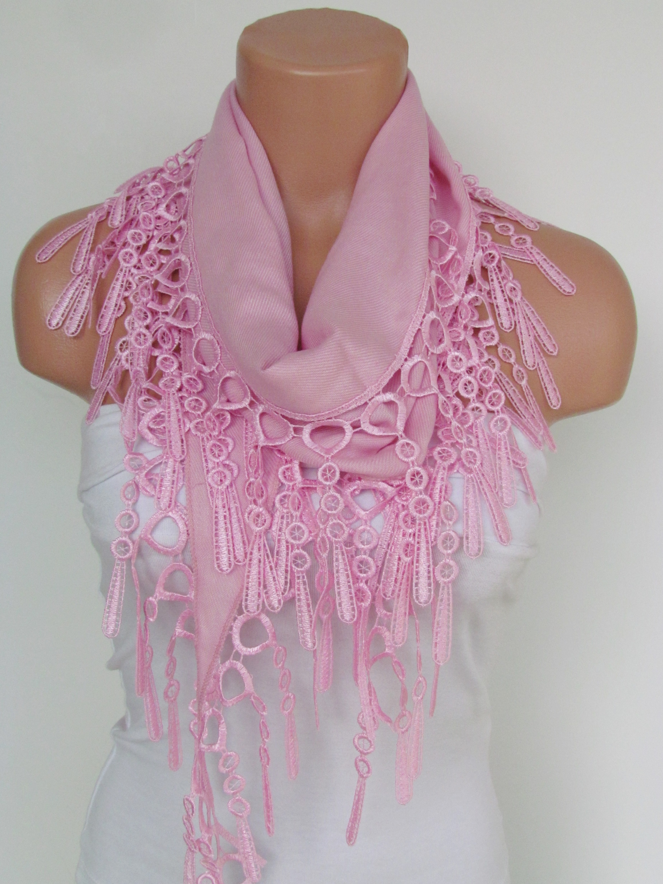 0ab866c96d121 Pink Pashmina Scarf With Fringe-Long Scarf-Fall Fashion Scarf-Headband- Necklace- Infinity Scarf- New on Luulla