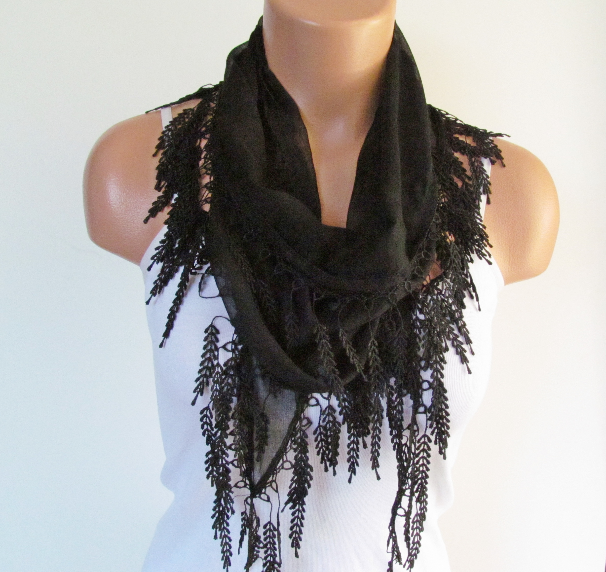f5d23a3a26552 Long Scarf With Fringe-New Season Scarf-Headband-Necklace- Infinity Scarf-  Spring Accessory-Black Sc on Luulla