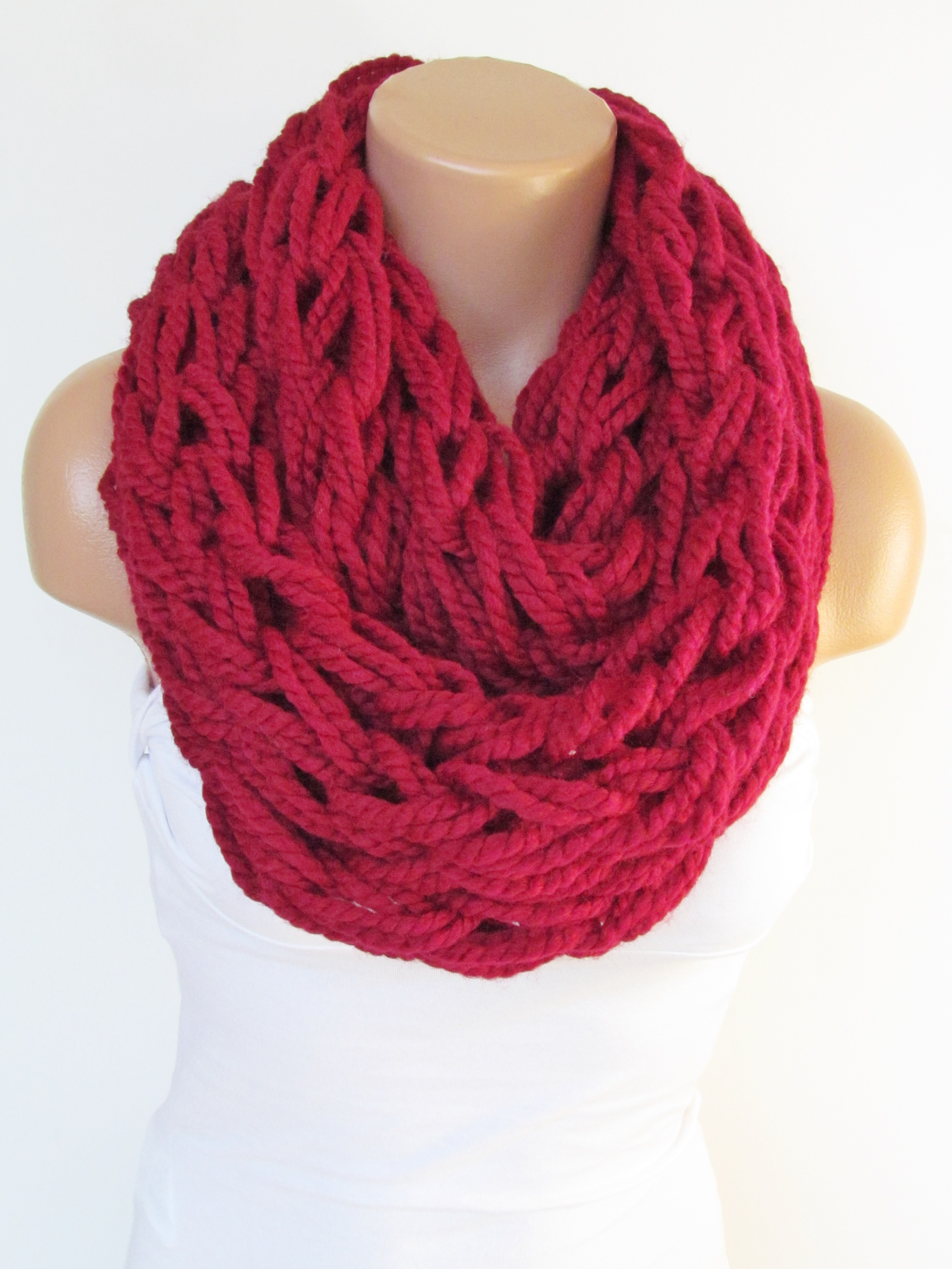Infinity Red Scarf Neckwarmer Knitted Scarf Circle Loop Scarf Winter Accessories Fall Fashion