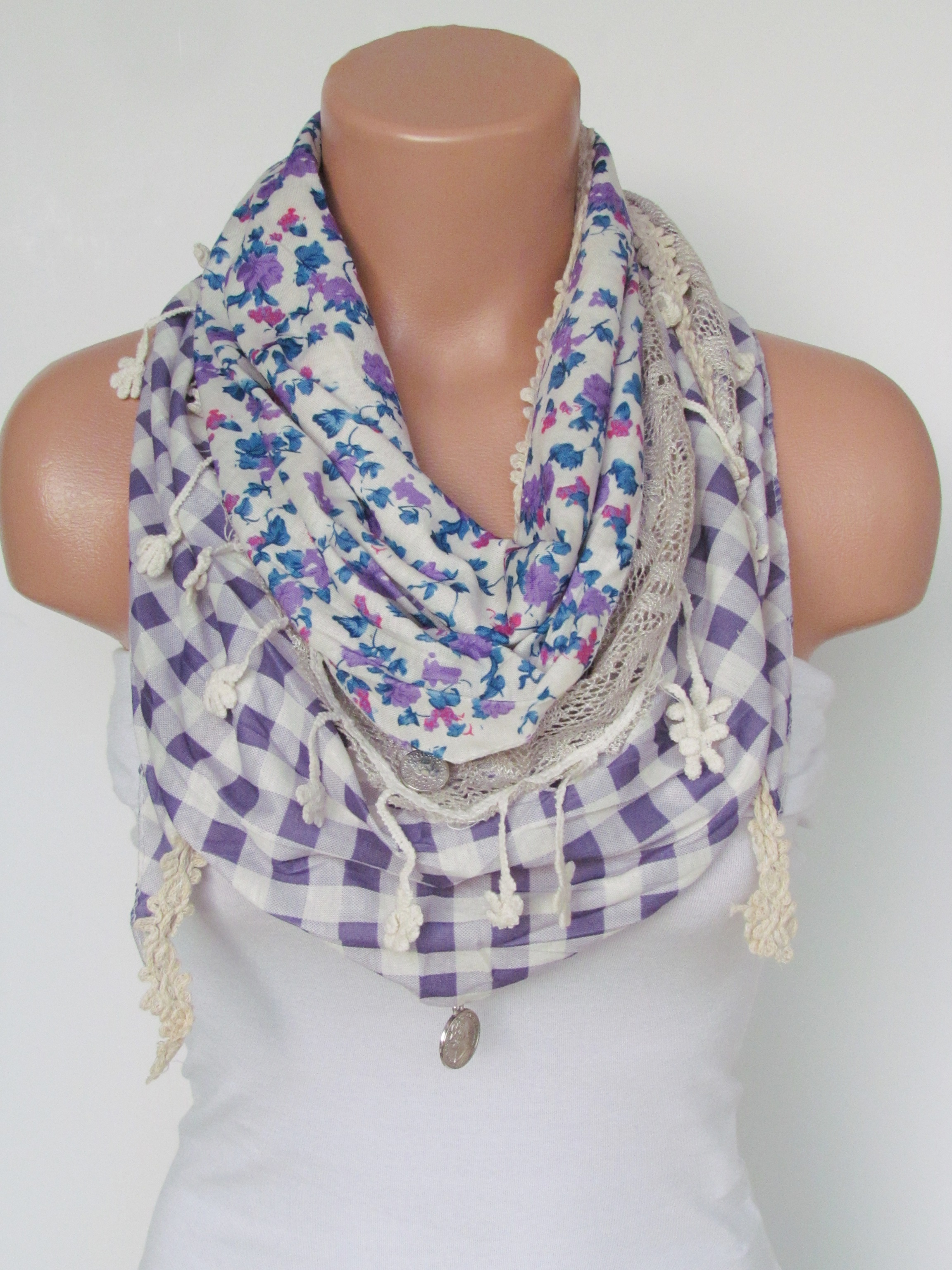 a97c9d8c66531 Triangle Scarf with fringe and lace-Winter Shawl Scarf-Winter Fashion-Lace  Scarf-Necklace-Pashmina Scarf- Stone Lilac Cream