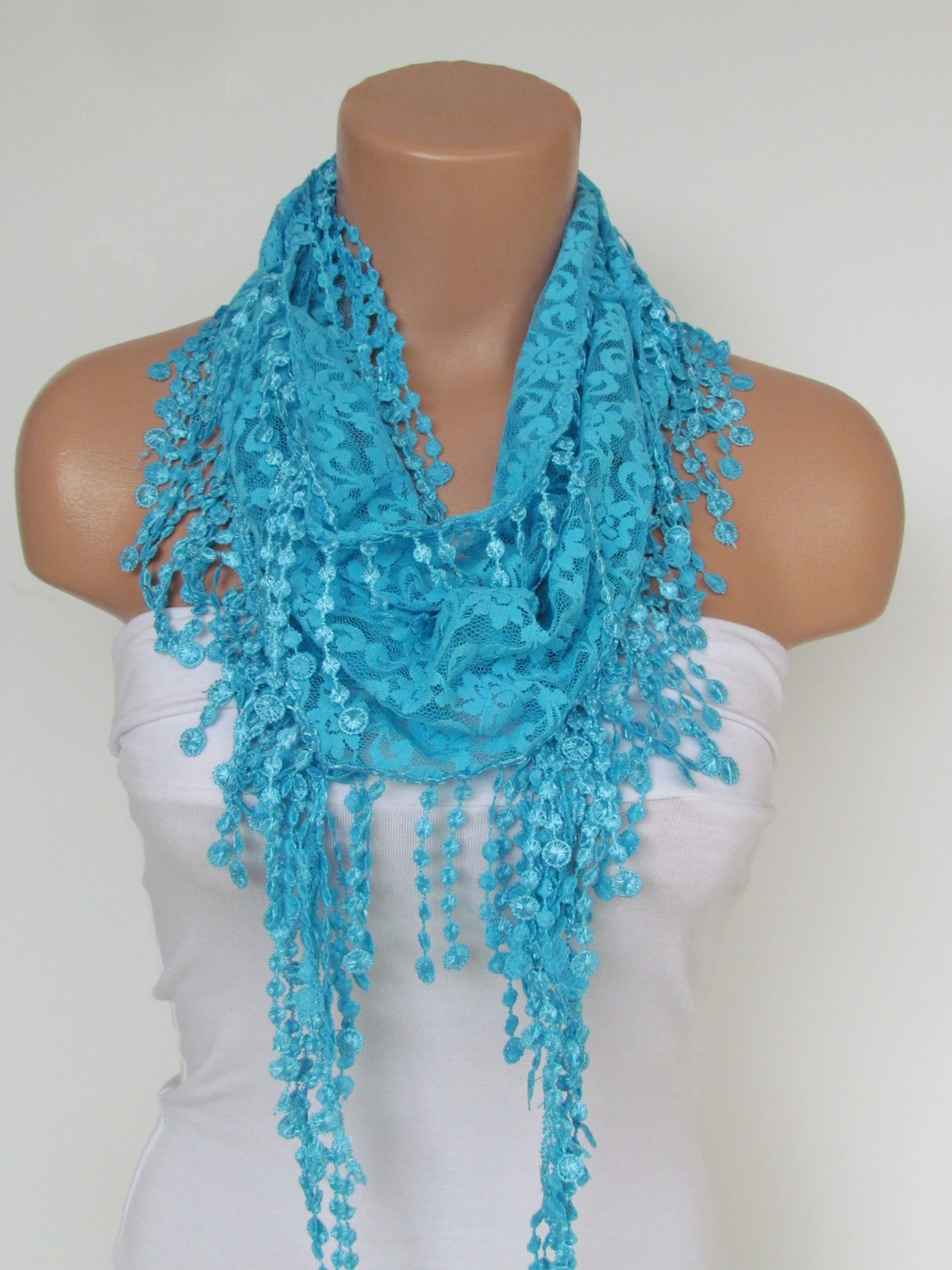 92b87fc01426b Turquoise Lace Scarf With Fringe New Season Scarf-Headband-Necklace- Infinity  Scarf- Accessory-Long on Luulla