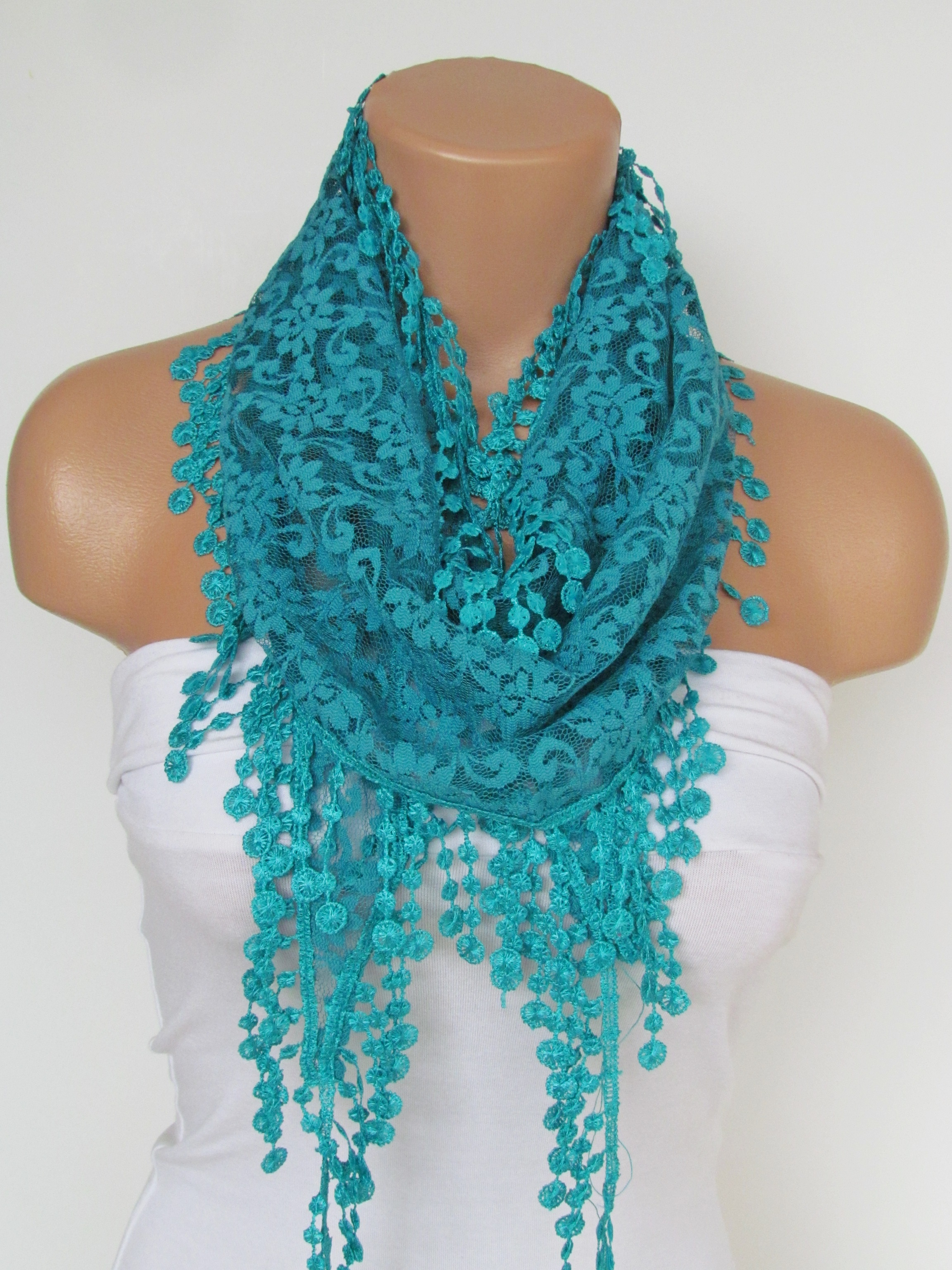 36b4823320be5 Turquoise Lace Scarf With Fringe-Fall Fashion Scarf-Headband-Necklace- Infinity  Scarf-New Season Acc on Luulla