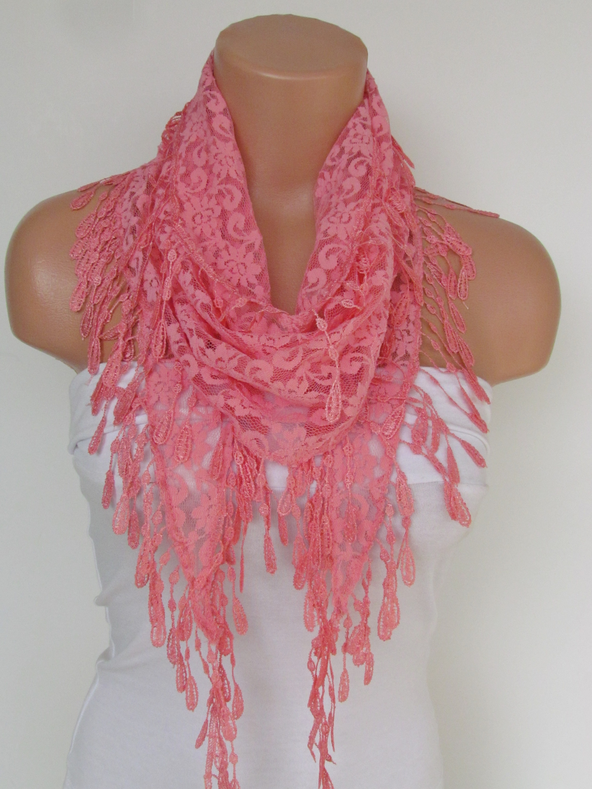 5926d42cb558f Salmon Lace Scarf With Fringe-Fall Fashion Scarf-Headband-Necklace- Infinity  Scarf-New Season Access on Luulla