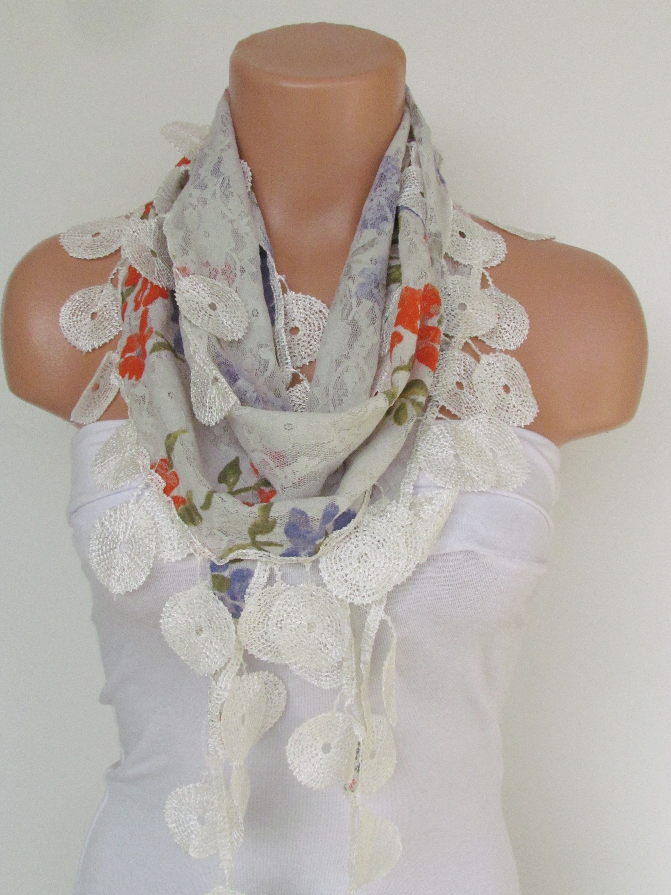 9f7e397a1501c White Floral Lace Scarf With Fringe-Fall Fashion Scarf-Headband-Necklace- Infinity  Scarf-New Season on Luulla