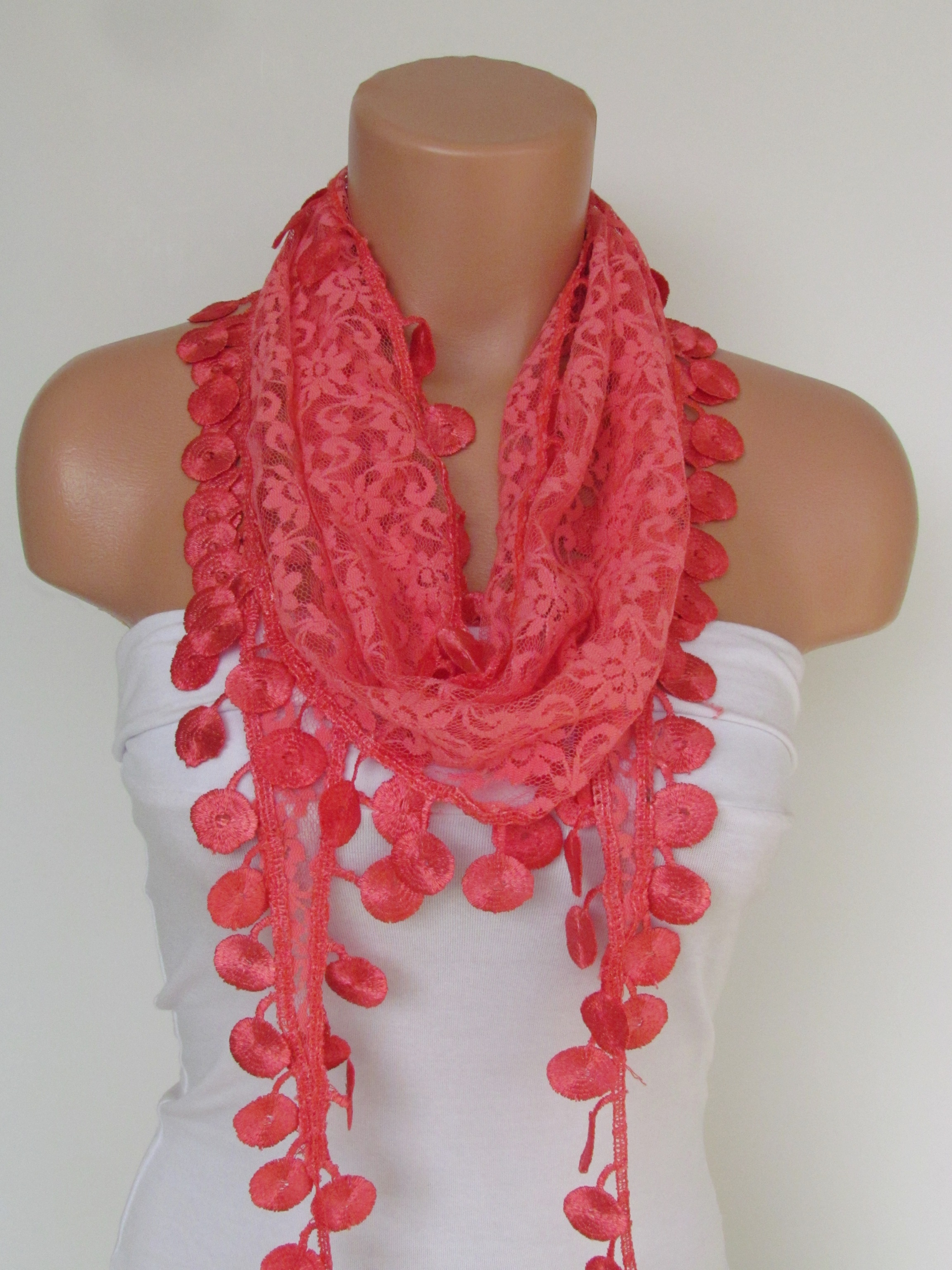 59453417c8c78 Indianred Lace Scarf With Fringe-Fall Fashion Scarf-Headband-Necklace- Infinity  Scarf-New Season Acc on Luulla